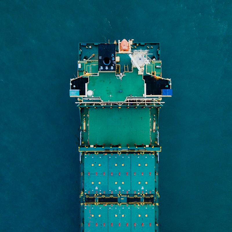 large container ship out at sea